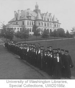Graduates in front of Denny Hall